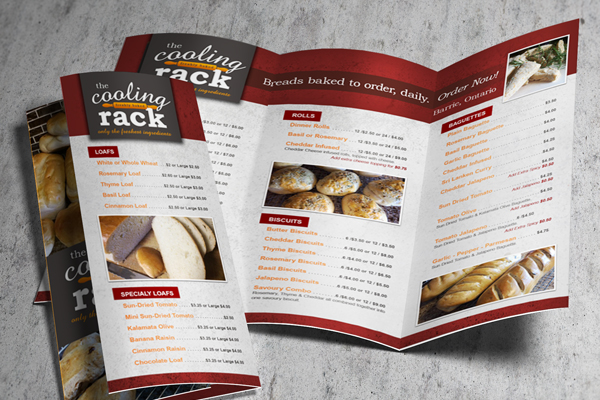 The Cooling Rack - Trifold Menu Brochure
